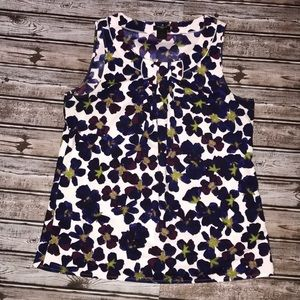 Ann Taylor Petite Floral Bow tie Top